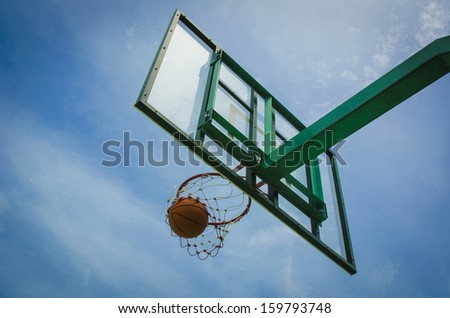 basketball field goal with the sky in background