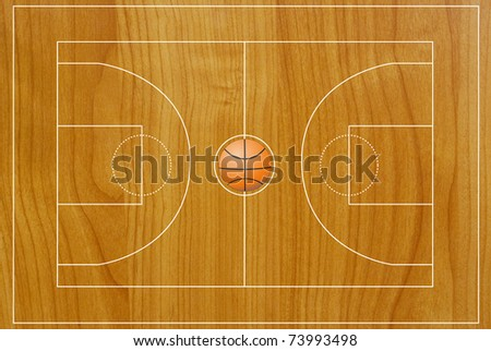 Basketball field texture with real wood.