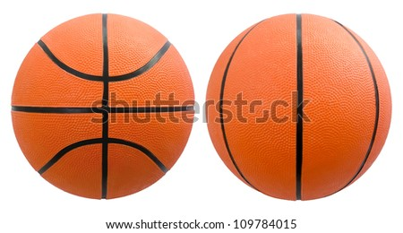 Basketball from different angles isolated on white