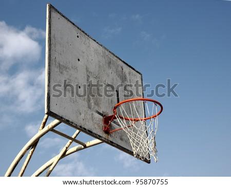Basketball Goal on a blue sky.