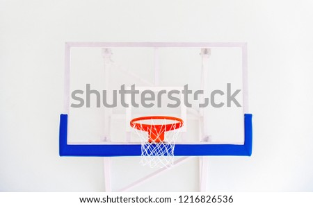 Basketball hoop cage, isolated large backboard closeup, new outdoor court set, blue, red, orange, white back board blank copy space background - Shutterstock ID 1216826536