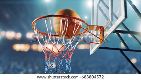 Photo of  Basketball hoop in a professional basketball arena.
