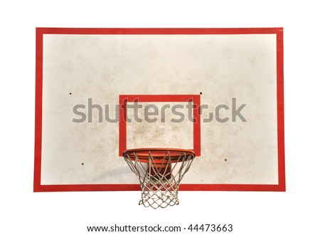 Basketball hoop with cage isolated on white background as sports equipment background.