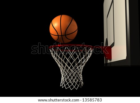 Basketball in air over hoop - rendered in 3d - stock photo