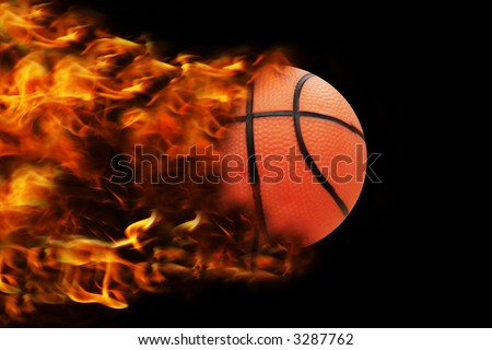 basketball in full speed, fire behind