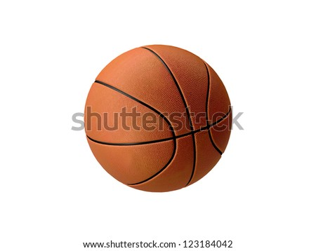 Basketball in orange with black stripes, isolated on white background