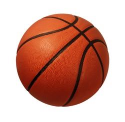 Basketball isolated on a white background as a sports and fitness symbol of a team leisure activity playing with a leather ball dribbling and passing in competition tournaments.