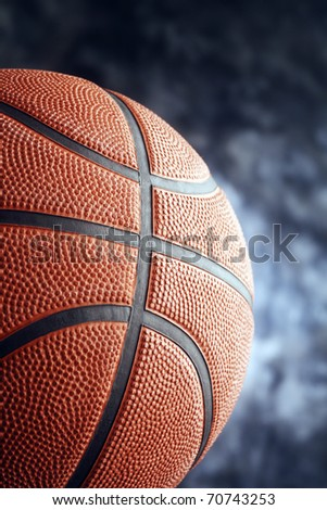 Basketball isolated on the blue background.