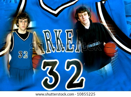 Basketball jersey serves as background for two images of a basketball player before the game and during the game.