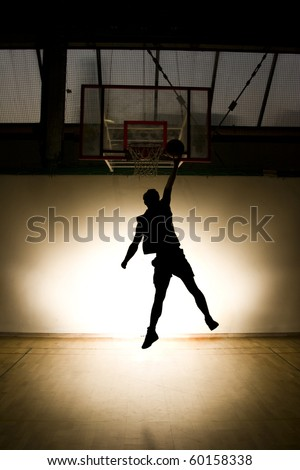 Basketball jump - black silhouette