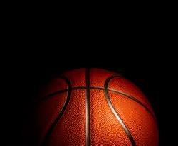 basketball on a black background