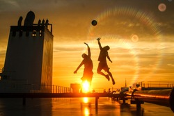 Basketball on a ship before the sun sets