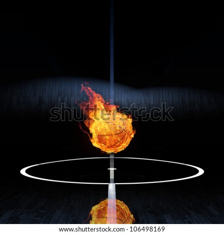 Basketball on fire or burning Basketball 3D on playing filed