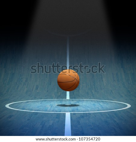 Basketball on of curved playing field 3D