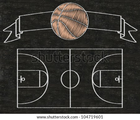basketball on vintage banner and color line match written on blackboard background high resolution, easy to use
