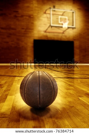basketball court floor. stock photo : Basketball on wooden floor of old asketball court