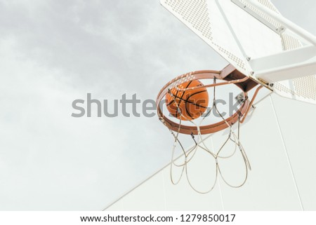 Basketball Outdoor. Basketball court net hoop ring board outdoor.Basketball outdoor court sport game.