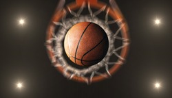 Basketball  pass through hoops and spotlights  in  arena stadium