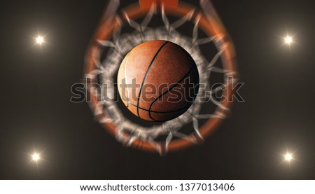 Basketball  pass through hoops and spotlights  in  arena stadium #1377013406