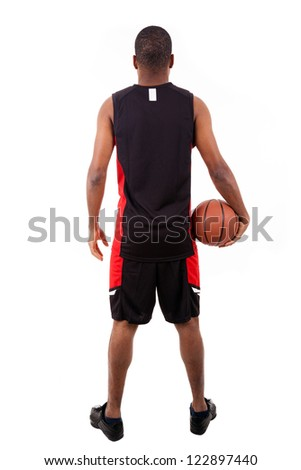 Basketball player from back, isolated in white background