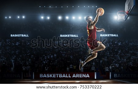 basketball player in action in gym panorama view 3d rendering