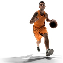 Basketball player in action with a ball isolated on white background