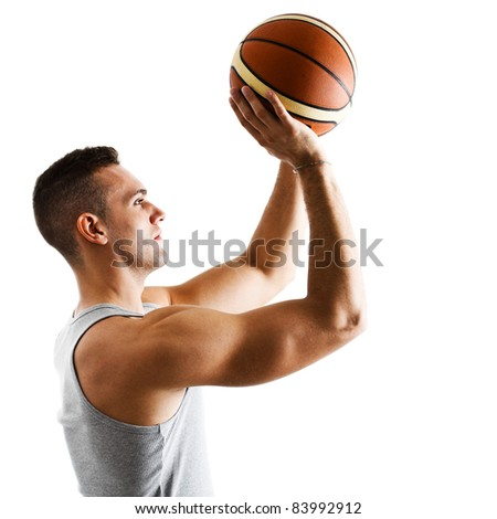 Basketball player in free throw pose