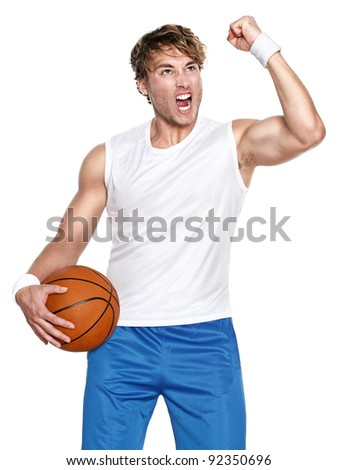 Basketball player isolated celebrating winning holding basket ball isolated on white background