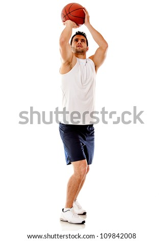 Basketball player shotting - isolated over a white background