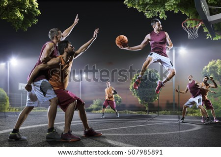 Basketball players in action on court #507985891