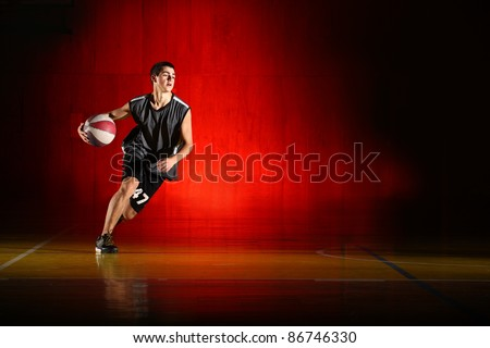 Basketball run on red background