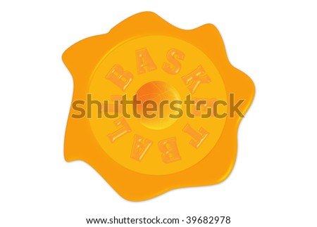 Basketball seal with ball and writing over white background - stock photo