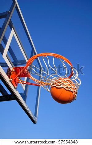 Basketball Shot Falling Through the Net, Blue Sky, vertical, copy space