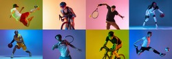 Basketball, soccer, tennis and cycling. Collage of different professional male and female sportsmen in action at studio on multicolored background in neon. Flyer for ad. Motion, action, sport concept