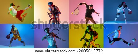 Basketball, soccer, tennis and cycling. Collage of different professional male and female sportsmen in action at studio on multicolored background in neon. Flyer for ad. Motion, action, sport concept Foto stock ©