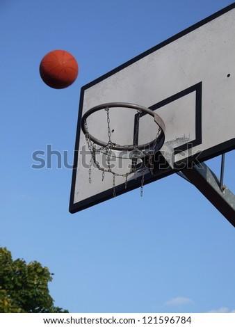 basketball sport and an outdoor basketball hoop