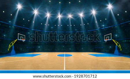 Basketball sport arena. Interior view to wooden floor of basketball court. Two basketball hoops side view. Digital 3D illustration of sport background.