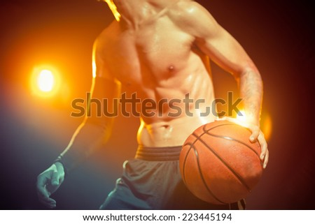 Basketball training with a ball on court
