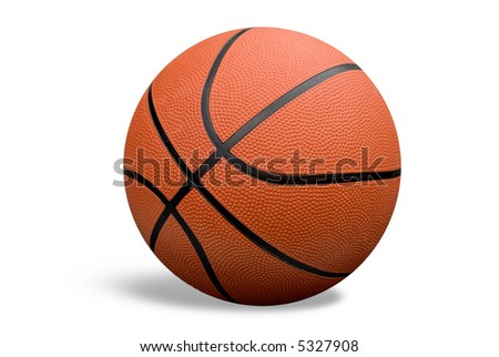 Basketball with shadow isolated over a white background with a clipping path