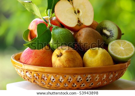 Basketful of various fruits