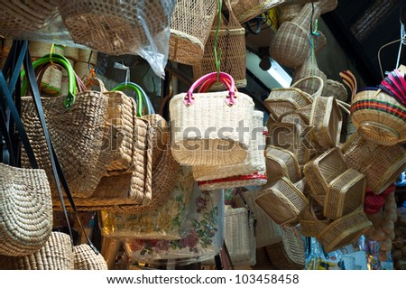 Baskets hanging in the market