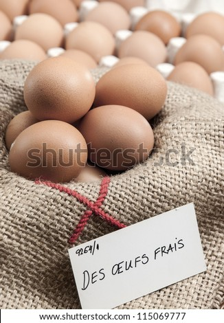 Baskets of eggs to the France  market