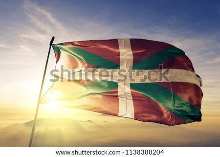 Basque Country flag textile cloth fabric waving on the top