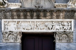 Basrelief on the architrave of the Romanesque
