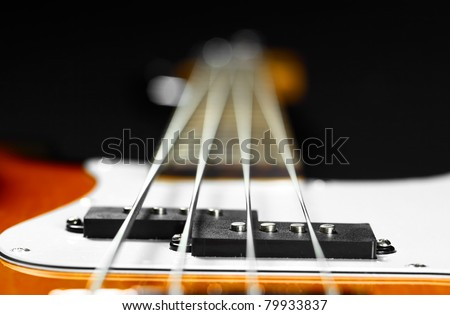 Bass electric guitar closeup