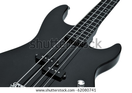 Bass guitar isolated in white - stock photo