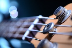 Bass guitar with focus on bottom E string and string-tree.