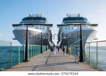 BASSETERRE, ST.KITTS - NOV 26, 2015 : Cruise ships Celebrity Silhouette and Eclipse docked in port of Basseterre, St. Kitts, the Caribbean on november 26th, 2015