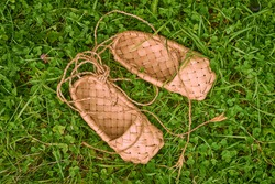 bast shoes on green grass background