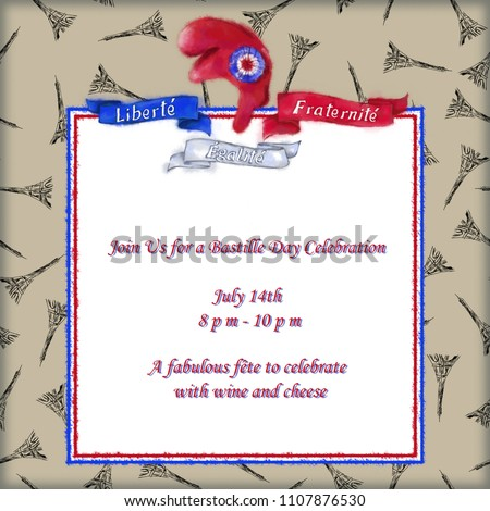Bastille Day celebration Card with Liberty Cap and Eiffel Tower Pattern on Aged Paper Background. Tricolor Patriotic Card with Liberty Cap Template for Cards, Invitations, Flyers, Announcements etc.